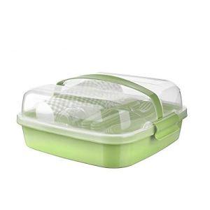 BEFA Set de pique-nique pour 6 personnes – Plastique sain sans BPA – Fourchette en plastique – Couteau, cuillère, assiette, gobelet, salière – Panier de pique-nique – Vert