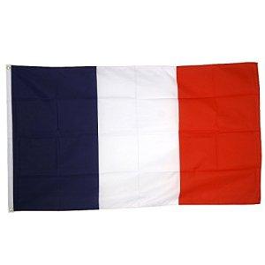 Boxcute Drapeau France 150x90cm – Football-Drapeau Français 90 x 150 cm – Drapeaux.Coutures doublées et Bords renforcés – Oeillets métalliques