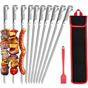 Brochettes Inox 10 pièces, 43 cm, brochettes barbecue pour éviter la rouille, adaptées au lavage au lave-vaisselle, sac en tissu et brosse à huile en silicone fournis, pour barbecue parties