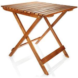 com-four® Table Pliante en Bois de qualité supérieure – Table en Bois pour Le Jardin, la terrasse et Le Balcon – Table de Jardin Pliante pour Le Camping – Table d'appoint