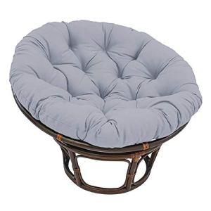 Coussin de chaise de patio Papasan rond 120x120x15cm Coussin de chaise Papasan avec sangles de positionnement,siège d'oeuf épais rembourré Chaise suspendue épaissie hamacs Swing Pad antidérapant