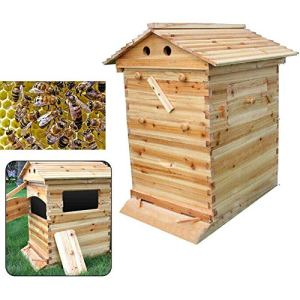 CRZJ Balier de Ruche en Bois, House d'abeille, Honey Honey Beehive Behive Bood Box House Max 7pcs Auto Flow Flow Frame Manque,Bee House Only