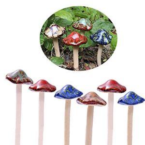 ENVEL Champignons de jardin colorés en céramique [4 couleurs 6 pièces] Décoration de pots de fleurs pour maison de poupée, maison de rempotage, abri de jardin, pot de fleurs, statuette