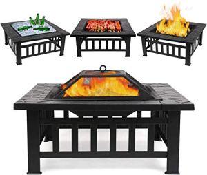 Femor Foyer Multi-Fonction 3 in 1 Barbecue Récipient Glace Brasero Extérieur Cour Jardin en Métal Carré Table Chauffage Réchaud avec Housse Imperméable 81cm*81cm*45cm Fire Pit & Grill