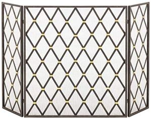 Fengli Spark Guard à 3 panneaux en fer forgé Motif géométrique pour foyer et foyer ignifuge pour bébé, panneau extérieur en métal, couverture en maille noire