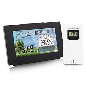 Fesjoy Station météo sans Fil Forecaster hygromètre extérieur intérieur avec capteur Couleur écran Tactile Calendrier réveil