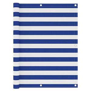 Festnight Brise Vue occultant Écran de Balcon Blanc et Bleu 120x500cm Tissu Oxford
