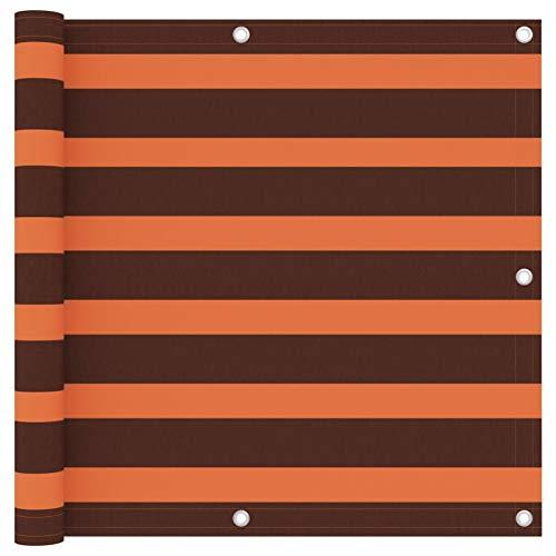 Festnight Écran de Balcon Paravent Extérieur Brise-Vue Orange et Marron 90×600 cm Tissu Oxford