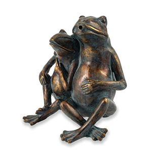 Gargouille Figurine Froschpaar En Pierre Synthétique – (L X Largeur X Hauteur): Env. 210 x 150 X 250 MM – Raccord de Tuyau 13 – Longueur Du 1,4 M – Jardin D'Eau Déco Statuette Décorative D' Étang