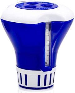 Hancoc Flottant Piscine Chlore Distributeur, Distributeur Chimique Premium avec Thermomètre/Support for Le Chlore Comprimés Jusqu'à 3″ for Piscine & Spa Porte Bromine