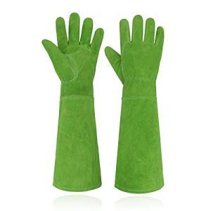 Handlandy Gants de jardinage en cuir pour femme, anti-épines, longueur coude, taille L, vert