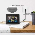 HCFSUK Station météo numérique Horloge de prévision écran Couleur réveil électronique Multifonctionnel Calendrier perpétuel température humidité