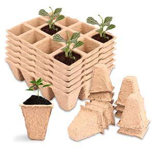 Herefun Pots Biodés, 20 Pièces Pot Jardinage en Set Fibres Biodégradables Pots, Récipient de Germination, Pépinière Dégradables, Pots de Plantes pour Jardiniers e Débutants au Foyer