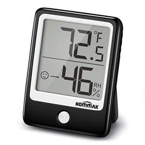 Hommak Thermomètre hygromètre, [Style Mini] hygromètre avec tendance d'humidité, 3 options de montage, thermomètre intérieur, moniteur de température et d'humidité pour la maison/chambre de bébé/serre