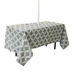 Housse de table rectangulaire imperméable de 150 cm x 213 cm avec trou pour parasol et fermeture éclair, pour jardin, terrasse, fête de vacances (motif fleur).