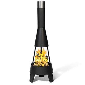 IDMarket – Braséro Capri Noir Foyer Ouvert cheminée de terrasse