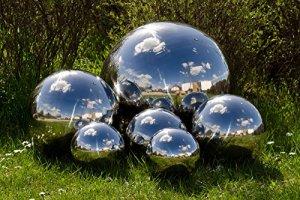 Köhko Boule décorative Poli en Acier Inoxydable 4-100 cm Balle Flottante pour Jardin ou étang ø 18 cm
