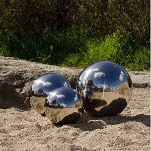 Köhko Ensemble de 3 Boule décorative Poli en Acier Inoxydable Balle Flottante pour Jardin ou étang ø 8-10-15 CM