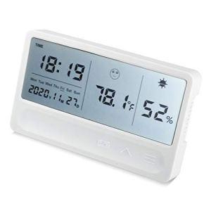 Landzhou Thermomètre hygromètre avec écran LCD pour Afficher l'humidité et la température, Convient aux serres intérieures et extérieures, aux Chambres de bébé, aux sous-sols, etc, Blanc