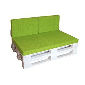 LILENO HOME Lot de coussins pour palette 1. Set: (1x Sitzteil + 2x Rückenkissen) vert pomme