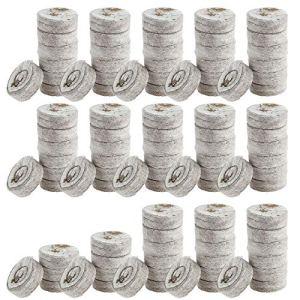 Lot de 100 pastilles de tourbe avec arroseur – Pour semences de tourbe – Avec éléments nutritifs – Pour semis de terre – Comprimés de tourbe – Engrais pour semis – Bloc de nutriments (A)