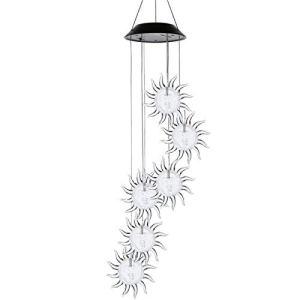 Lshbwsoif Carillon éolien à LED à énergie solaire à suspendre pour extérieur Lampe LED changeant de couleur