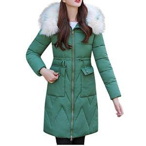 LuckyGirls Vêtements d'extérieur de la Mode Longue Veste en Coton-rembourré Pocket Drawstring Manteaux à Capuchon