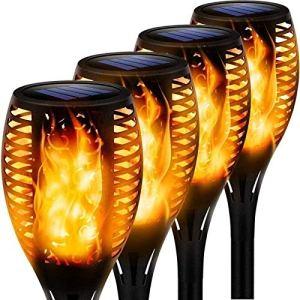 MFFACAI Lampes Solaires À LED de Flamme Solaire IP65 Lampes de Feu de Réverbère Solaire Extérieur sans Fil Étanche pour Jardin, Terrasse, Patio, Fêtes, Éclairage Extérieur