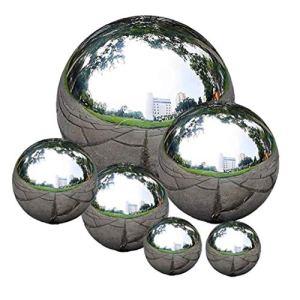 Naicasy Gazing en Acier Inoxydable Boule Transparente Gazing Globe Miroir Creux Poli réfléchissant Boule de Jardin Sphère 6 PCS