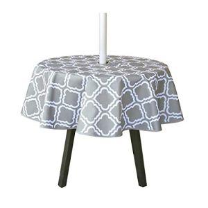 Nappe ronde imperméable de 150 cm avec trou pour parasol et fermeture éclair, pour jardin, terrasse, fête de vacances (motif fleur)