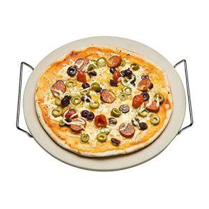 Nonna Pierre à pizza Ø 30,5 cm avec support de service en acier inoxydable – Plaque à pizza / plaque de four (11 mm d'épaisseur) pour four et barbecue (BBQ) – jusqu'à 600 °C