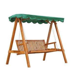 Outsunny Balancelle de Jardin 3 Places Toit imperméabilisé 2 tablettes Support 1,9L x 1,3l x 1,85H m Charge Max. 360 Kg Bois de pin Vert