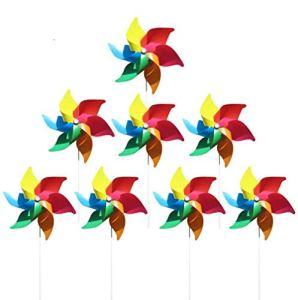 (Pack de 8) moulins à vent colorés comme un cadeau pour les enfants à jouer, ou comme une décoration délicate pour les jardins d'enfants, les jardins, les chambres d'enfants, les fêtes ou les vitrines