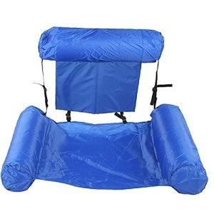 Piscine Plage Lit pliant gonflable Portable Recliner Piscine Anneau d'air matelas d'eau Chaise longue Chaise pour enfants adultes alimentation Natation Bleu