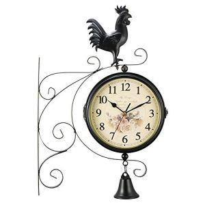 Powstro Horloge murale rétro à double face pour jardin, salon, chambre à coucher
