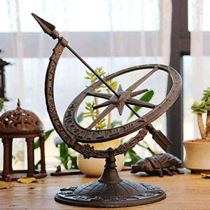 Sculpture,Cadran Solaire De Jardin en Fonte Horloge Boussole Armillaire Ornements De Chiffres Romains