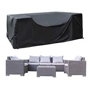SIRUITON Housse de Meuble Housse Salon de Jardin Housse de Protection pour Meubles de Jardin Imperméable 420D Tissu Oxford Noir (250 x 250 x 90cm)