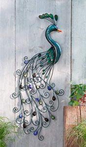 Suspension murale Paon, look antique et romantique, pierres de couleurs orange, vert et bleu, métal brillant minutieusement travaillé