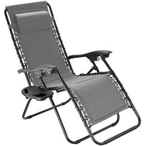 TecTake 800885 Chaise Longue Toile Tendue Pliable avec Rembourrage de Tête Amovible – Diverses Couleurs – (Gris)