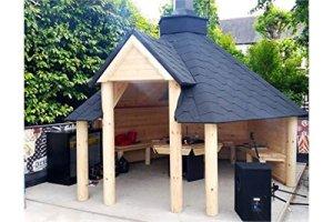 The Leisure Shack Abri en bois pour barbecue de 9,2m²–Maisonnette d'été–Abri pour grillades–Abri en teck–Livré avec bitume, carrelage, grille pour barbecue, plateformes de cuisson, 1 table à mettre autour du foyer, 1 cheminée réglable et 3bancs