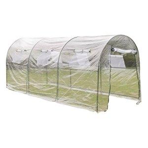 Tidyard Serre de Jardin Portable Large en PVC avec Recouvrement Transparent 450 x 190 x 200 cm