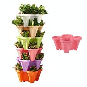 TMIL Pot de Fleur Jardin empilable, Tour jardinière Verticale Fraise à 6 Niveaux, système conteneur d'empilage à 4 pétales pour la Culture de légumes Tomate Poivre Concombre Herbes laitue,Rose