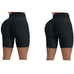 TTivxe Lot de 2 pantalons de sport pour femme push-up – Pour le sport et le yoga – Noir – Taille L