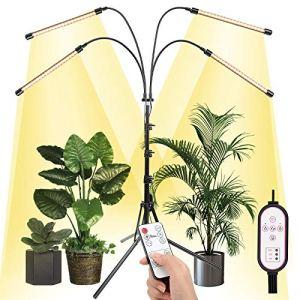 Ulikey Lampe de Plante, 80 LEDs Lampe de Croissance avec Support Réglable, Lampe LED à 4 Têtes 360° Éclairage Horticole Télécommande RF & Minuterie de Contrôle de Fil, 4/8/12H, 4 Modes de Luminosité