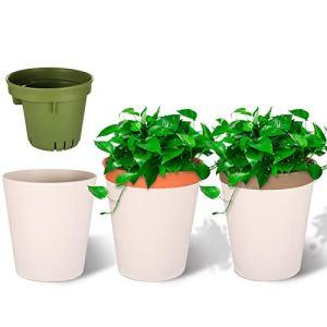 Viesap Pot De Fleur, 3 Pcs Pots De Fleurs, 12.5cm Pot De Fleur Plastique, Pot De Fleur Interieur, Pot De Fleur Exterieur, Deux Niveaux Decorative Pot De Jardin, Auto-Absorption Pot De Fleur Blanc.