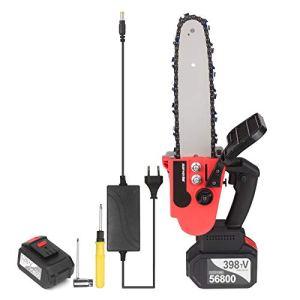 Voupuoda Scie à chaîne sans fil 21V sans fil Batterie 2×4 Ah Chargeur rapide inclus Kit de scie d'élagage électrique portable à tension automatique de 10 pouces pour l'abattage d'arbres et la coupe de