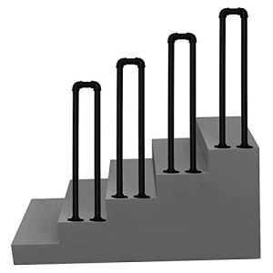 WZNING Bandrail à l'étape en forme de U 1 marches, balustrade en fer forgé noir Banistre d'escalier pour une utilisation intérieure ou extérieure, 35cm-100cm Rails à la main pour Villa Hotel Garden Sû