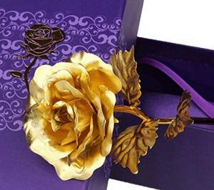 XKMY Cadeau de Saint-Valentin plaqué or 24 carats – Rose galaxie – Cadeau de Saint-Valentin pour petite amie, épouse – Couleur : or, taille : S