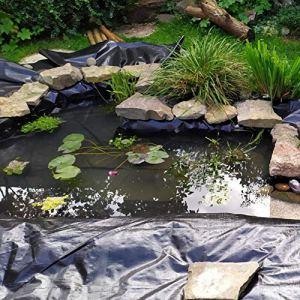 XWZJY Film d'aménagement paysager imperméable Durable Pliable de revêtement de Remplacement de revêtement d'étang de 0.6mm pour Les fontaines de ruisseaux d'étangs de Koi de Jardin d'eau, Noir