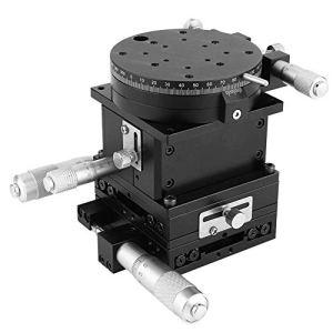 Yongenee Manuel linéaire Parage Plate-forme SEMXYZR-80 micrométrique, Roulement Tuning coulissant linéaire table d'étape 80mm Outils industriels